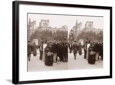Stereoscopic View of the Pont D'Arcole, Paris, 1890--Framed Art Print