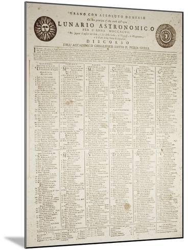 Astronomical Almanac for the Year 1797--Mounted Giclee Print