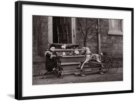 Portrait of a Child on a Tricycle, C.1882-1900--Framed Art Print
