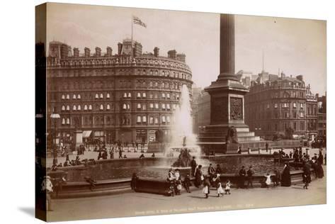 Trafalgar Square, London, C.1885--Stretched Canvas Print