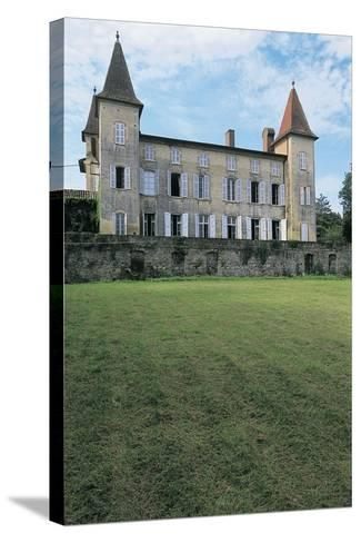 Lawn in Front of a Castle, Miramont Latour, Midi-Pyrenees, France--Stretched Canvas Print