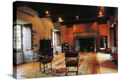 Hall of Chateau of Conros, Arpajon-Sur-Cere, Auvergne, France--Stretched Canvas Print