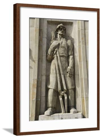 Poland, Warsaw, Socialist Relief, Constitution Square--Framed Art Print