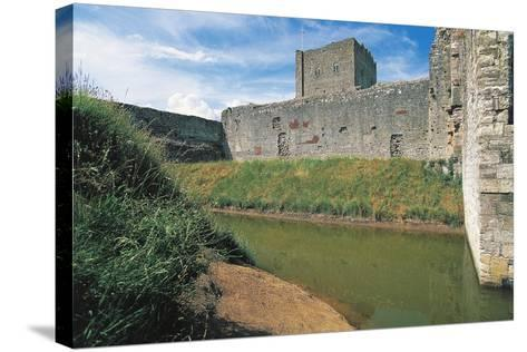 Moat and Walls of Portchester Castle, England, United Kingdom--Stretched Canvas Print