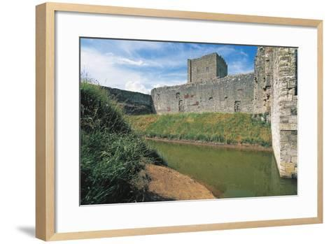 Moat and Walls of Portchester Castle, England, United Kingdom--Framed Art Print