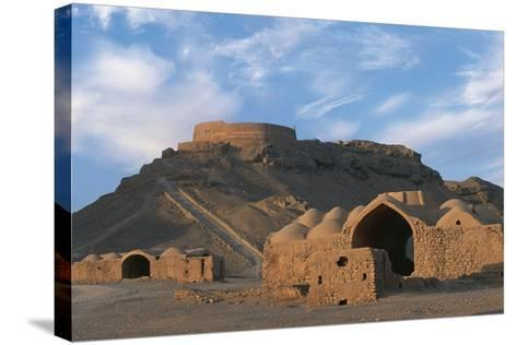 Tower of Silence and Zoroastrian Village, Near Yazd, Iran--Stretched Canvas Print