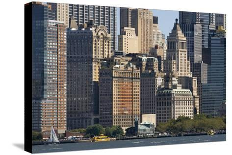 Skyscrapers Waterfront from Battery Park and Pier A, New York, Usa--Stretched Canvas Print