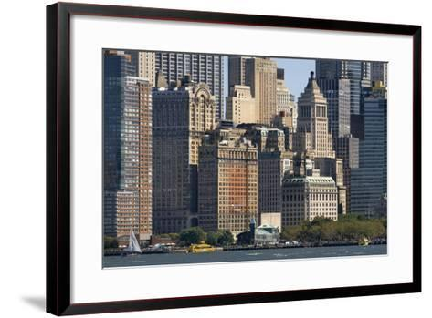 Skyscrapers Waterfront from Battery Park and Pier A, New York, Usa--Framed Art Print