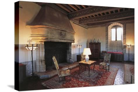 Room with Fireplace, Chateau of Septeme, Rhone-Alpes, France--Stretched Canvas Print