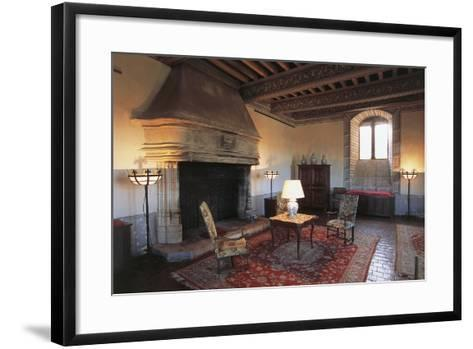 Room with Fireplace, Chateau of Septeme, Rhone-Alpes, France--Framed Art Print