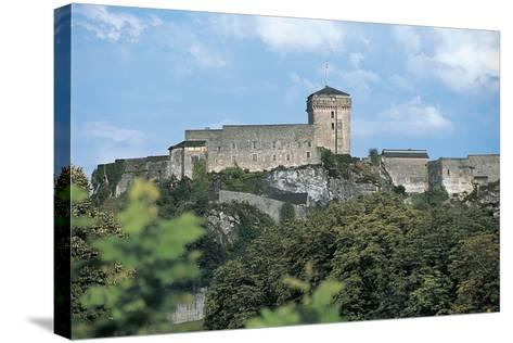 Low Angle View of a Castle, Lourdes, Midi-Pyrenees, France--Stretched Canvas Print