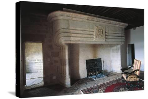 Large Fireplace, Chateau of Vaillac, Aquitaine, France--Stretched Canvas Print