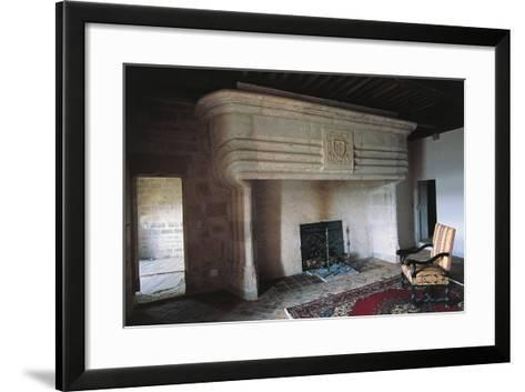 Large Fireplace, Chateau of Vaillac, Aquitaine, France--Framed Art Print
