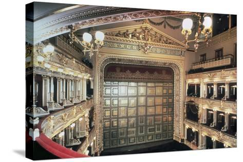 Interior of National Theatre, Prague, Czech Republic, 19th Century--Stretched Canvas Print