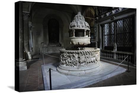 Baptismal Font, 12th Century, Basilica of San Frediano, Lucca--Stretched Canvas Print
