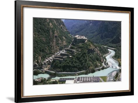 Aerial View of a Fort, Forte Di Bard, Valle D'Aosta, Italy--Framed Art Print