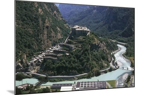 Aerial View of a Fort, Forte Di Bard, Valle D'Aosta, Italy--Mounted Photographic Print
