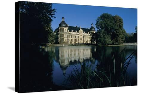 Castle at the Waterfront, Serrant Castle, Pay De La Loire, France--Stretched Canvas Print