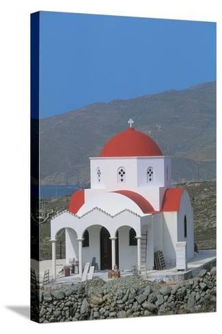 Facade of a Church, Mykonos, Cyclades Islands, Greece--Stretched Canvas Print