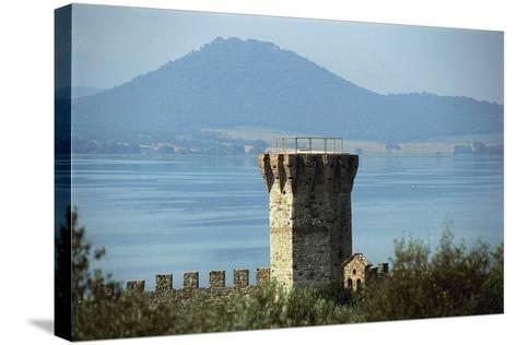 Tower Near a Lake, Lake Trasimeno, Umbria, Italy--Stretched Canvas Print