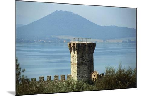 Tower Near a Lake, Lake Trasimeno, Umbria, Italy--Mounted Photographic Print