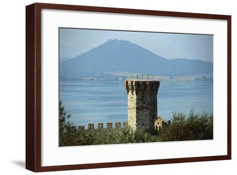 Tower Near a Lake, Lake Trasimeno, Umbria, Italy--Framed Art Print