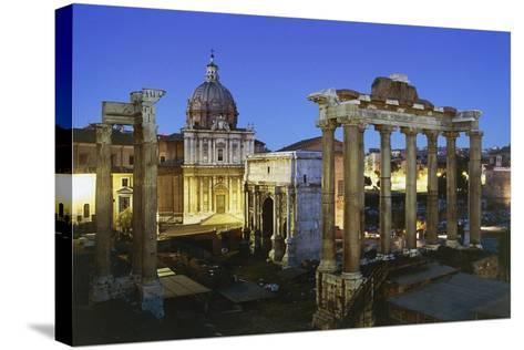 Night View of Roman Forum, Rome, Lazio, Italy--Stretched Canvas Print