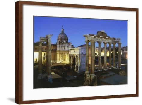 Night View of Roman Forum, Rome, Lazio, Italy--Framed Art Print