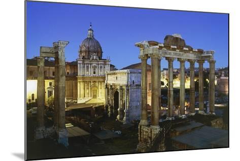 Night View of Roman Forum, Rome, Lazio, Italy--Mounted Photographic Print