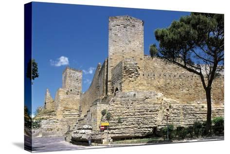 Low Angle View of a Castle, Enna, Sicily, Italy--Stretched Canvas Print