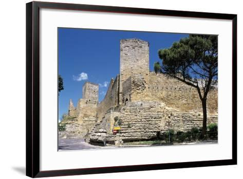 Low Angle View of a Castle, Enna, Sicily, Italy--Framed Art Print