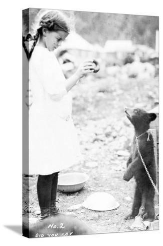 Girl and Bear Cub, C.1900-16--Stretched Canvas Print
