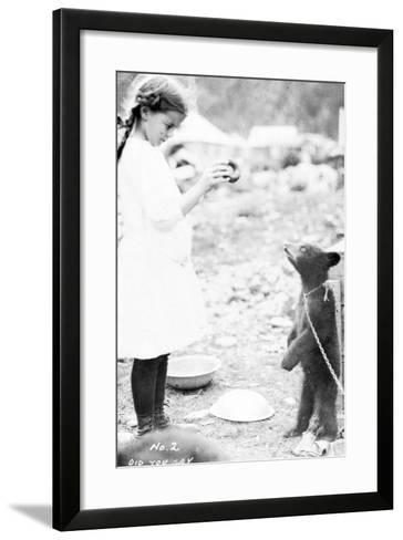 Girl and Bear Cub, C.1900-16--Framed Art Print