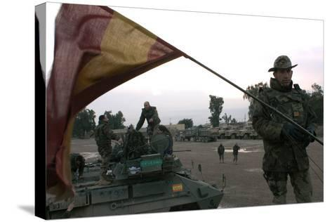 Spanish Troops Patrol the Streets of Diwaniyah, Iraq--Stretched Canvas Print