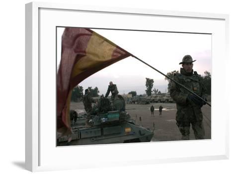 Spanish Troops Patrol the Streets of Diwaniyah, Iraq--Framed Art Print