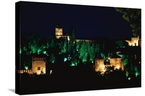 Spain. Granada. Alhambra. Night View--Stretched Canvas Print