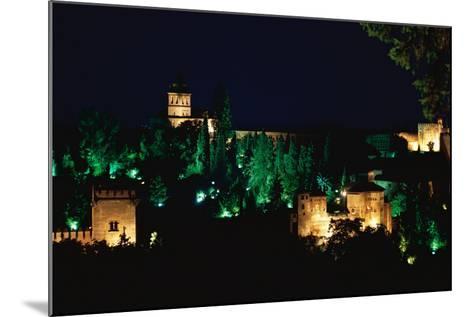 Spain. Granada. Alhambra. Night View--Mounted Photographic Print