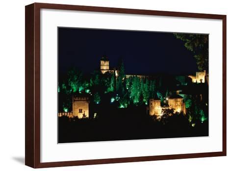 Spain. Granada. Alhambra. Night View--Framed Art Print