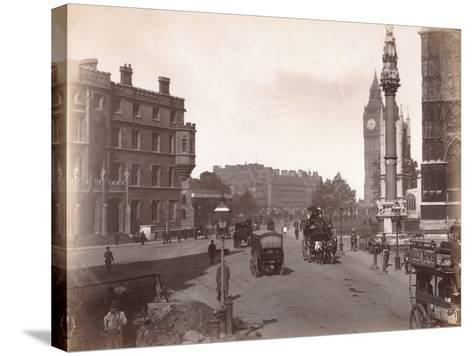 Parliament Square from Victoria Street, London, C.1885--Stretched Canvas Print