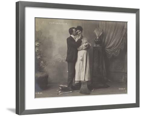 Young Man Kissing the Maid--Framed Art Print