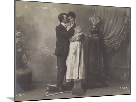 Young Man Kissing the Maid--Mounted Photographic Print