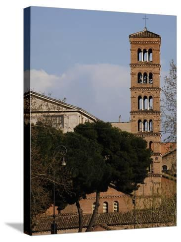Rome, Basilica of Saint Mary in Cosmedin, Bell Tower--Stretched Canvas Print