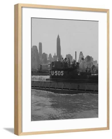 U.S.S. U-505 with Empire State Building--Framed Art Print