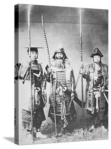 Samurai of Old Japan Armed with Long Bow, Pole Arms and Swords--Stretched Canvas Print