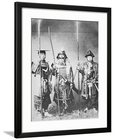 Samurai of Old Japan Armed with Long Bow, Pole Arms and Swords--Framed Art Print