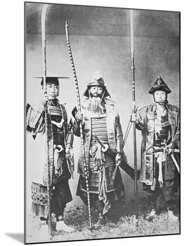 Samurai of Old Japan Armed with Long Bow, Pole Arms and Swords--Mounted Photographic Print