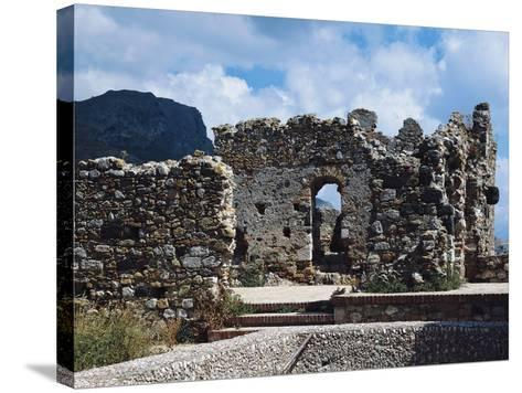 Ruins of Norman Castle of Castelmola, Sicily, Italy--Stretched Canvas Print