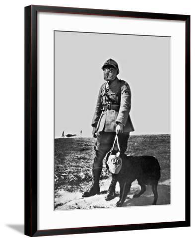 French Soldier and Dog Wearing Gas Masks on the Western Front, 1917--Framed Art Print