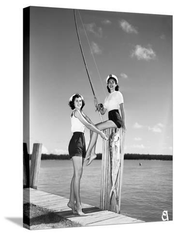 Toby Gerard and Barbara Wartell Strike Fishy Poses, April 1951--Stretched Canvas Print