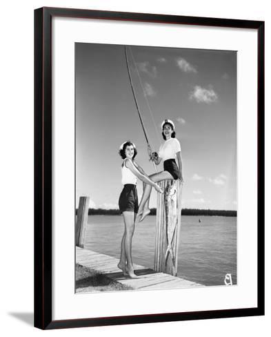 Toby Gerard and Barbara Wartell Strike Fishy Poses, April 1951--Framed Art Print